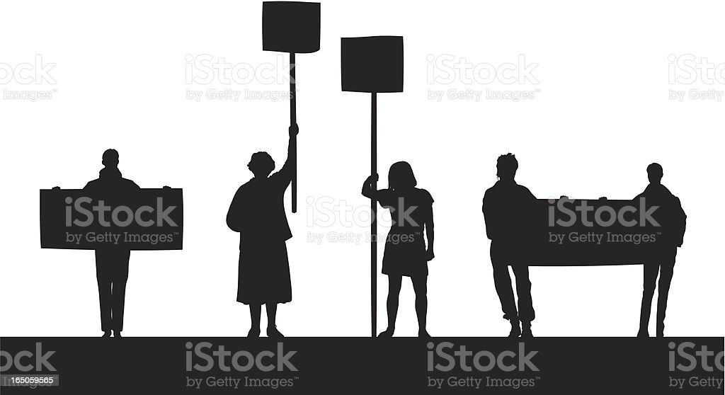 Angry Protestors vector art illustration