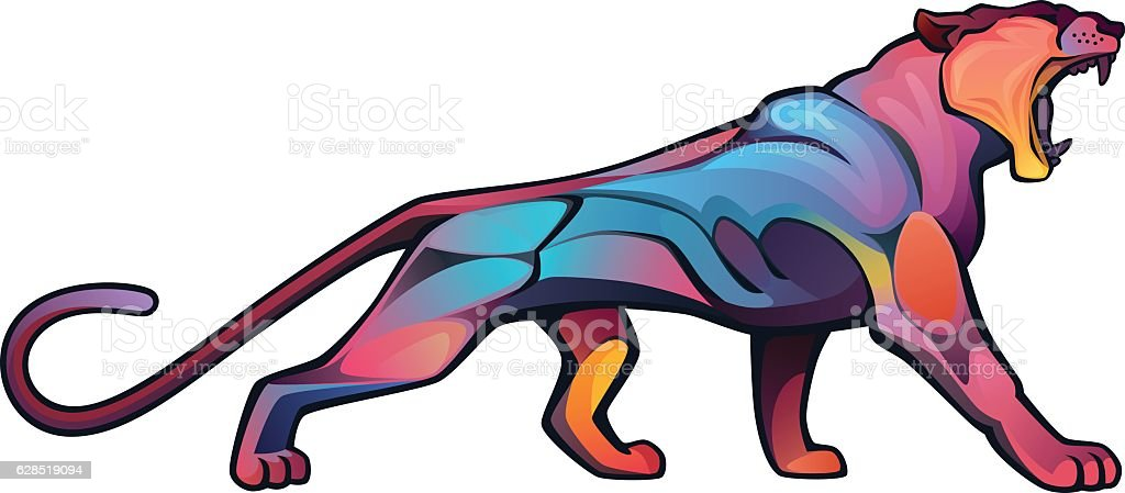 Angry puma vector art illustration