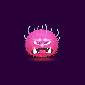 istock Angry purple pink monster with big teeth and glowing hairy skin floating with angry annoyed face. 1186863233