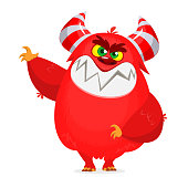 Angry red cartoon monster character. Vector illustration