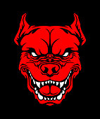 Angry red pit bull dog head vector cut out silhouette on black background