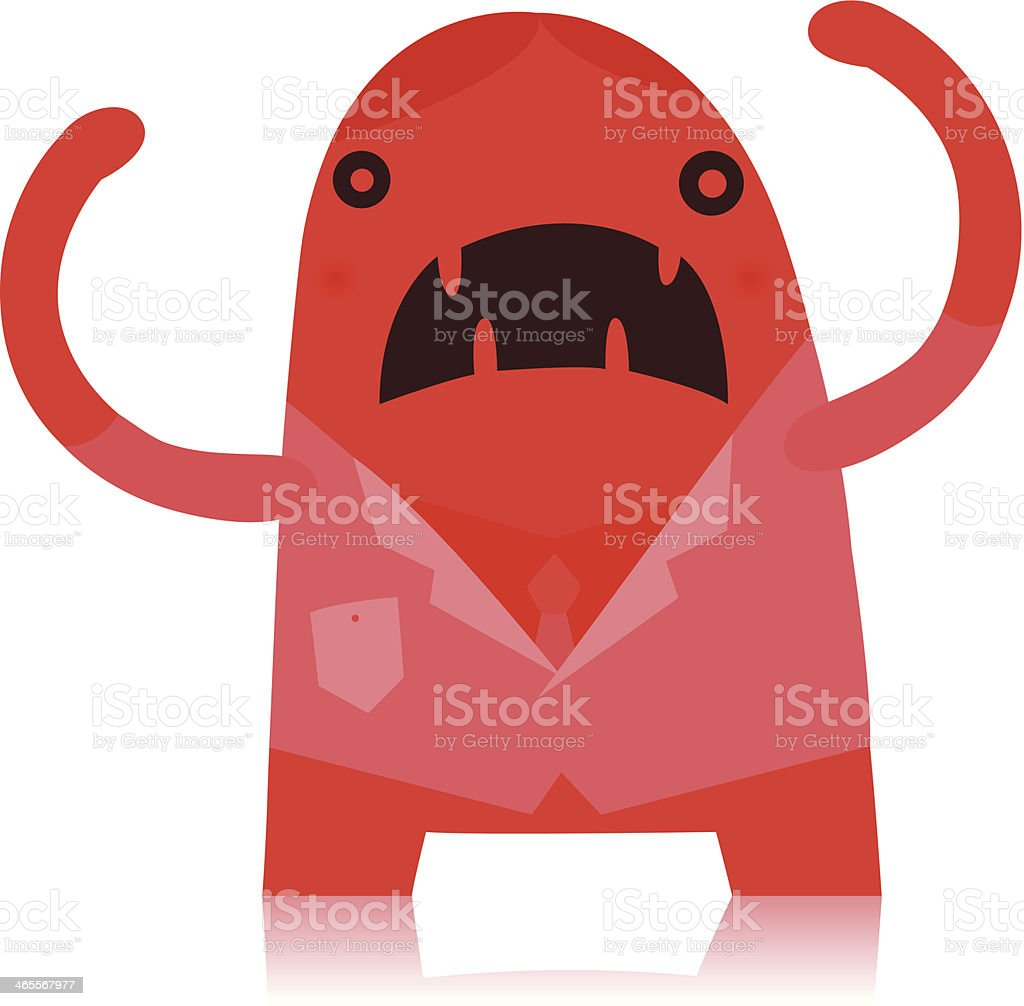 Angry Red Office Worker Monster royalty-free stock vector art