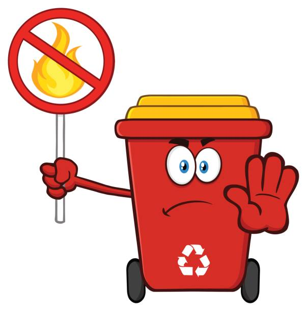 angry red recycle bin cartoon mascot character gesturing stop and holding a fire restricted sign - dumpster fire stock illustrations