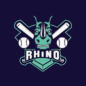 editable vector icon of a angry rhino baseball team sport.