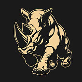 Angry rhino emblem in vector