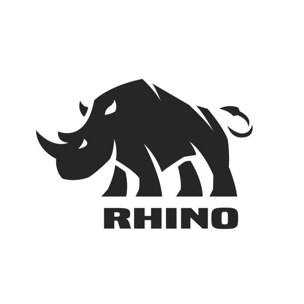 Angry rhino. Monochrome logo. Angry rhino. Monochrome logo, symbol. Vector illustration. rhinoceros stock illustrations
