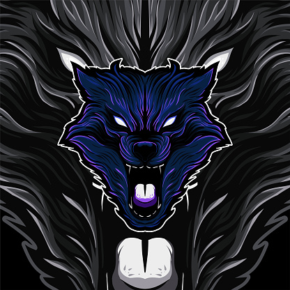 Angry Roaring Blue Wolf Head E-Sports Brand Identity Vector Illustration