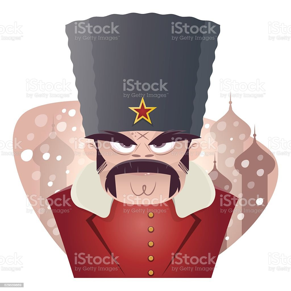 angry russian man vector art illustration