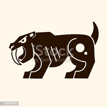 Angry saber-toothed tiger . Prehistoric era. Vector logo
