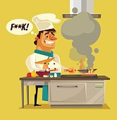 Angry sad bad chef character burn food
