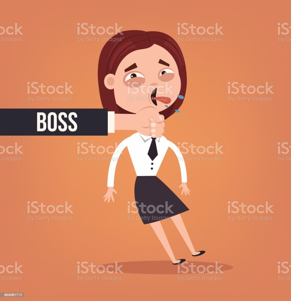 Angry sad boss hold his bad employee woman character neck vector art illustration