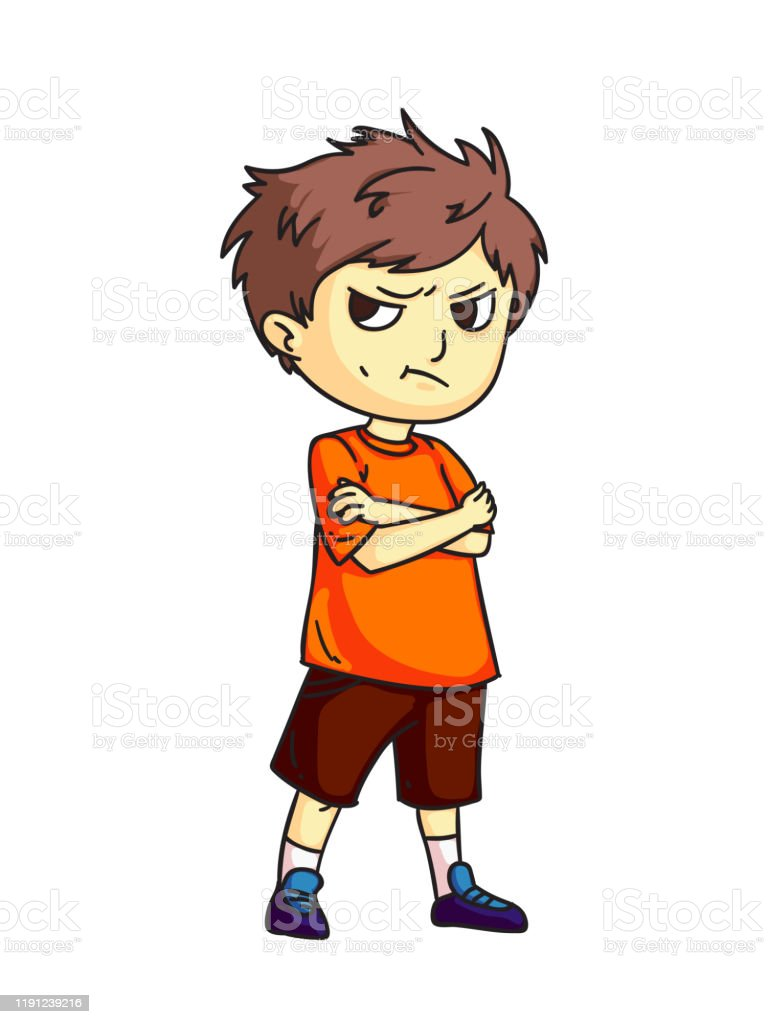 Angry Sad Mad Moody Cartoon Child Character Negative Kid Emotion Bad Behavior Boy Do Not Talk After Quarrel Conflict Relationship And Friendship Vector Cutout Flat Illustration Stock Illustration Download Image Now