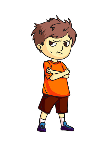 Angry sad mad moody cartoon child character. Negative kid emotion, bad behavior. Boy do not talk after quarrel. Conflict. Relationship and friendship. Vector cutout flat illustration.
