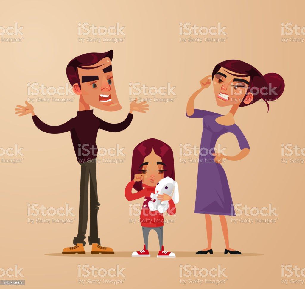 Angry sad parents man woman characters quarrel yelling near girl child daughter. Family problems. Vector flat cartoon illustration vector art illustration