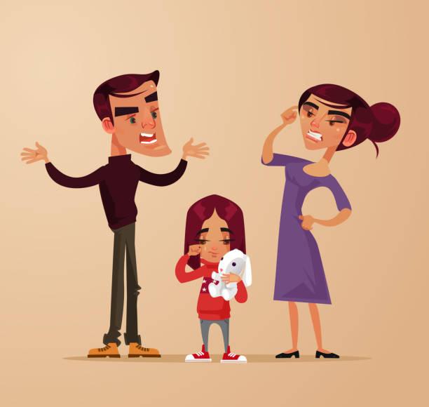 bildbanksillustrationer, clip art samt tecknat material och ikoner med arg ledsen föräldrar man kvinna tecken gräl skrek nära flicka barn dotter. familjeproblem. flat tecknad vektorillustration - parent talking to child