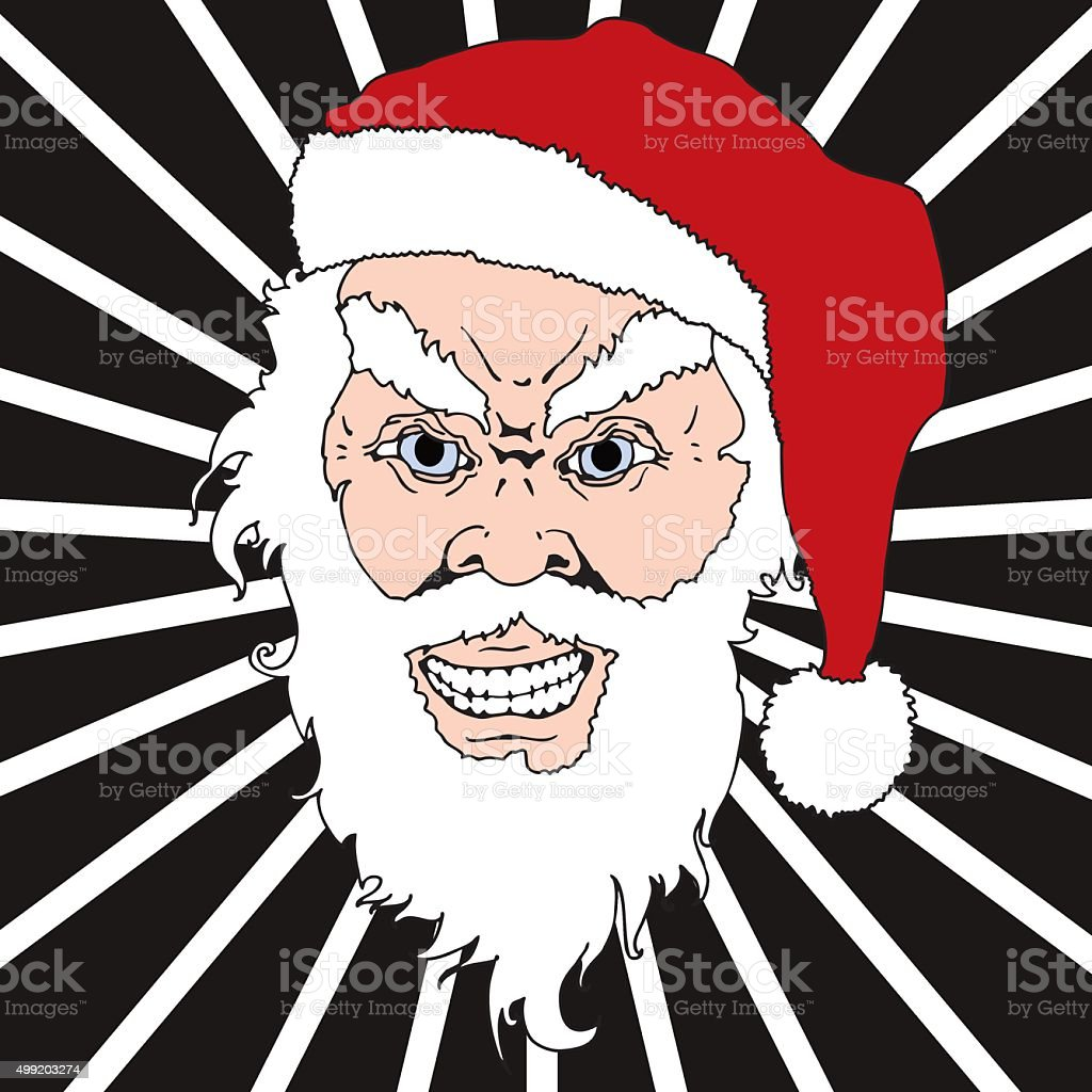 Angry Santa Claus vector art illustration