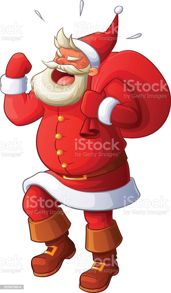Angry Santa yelling and waving his fist. Cartoon vector illustration. vector art illustration