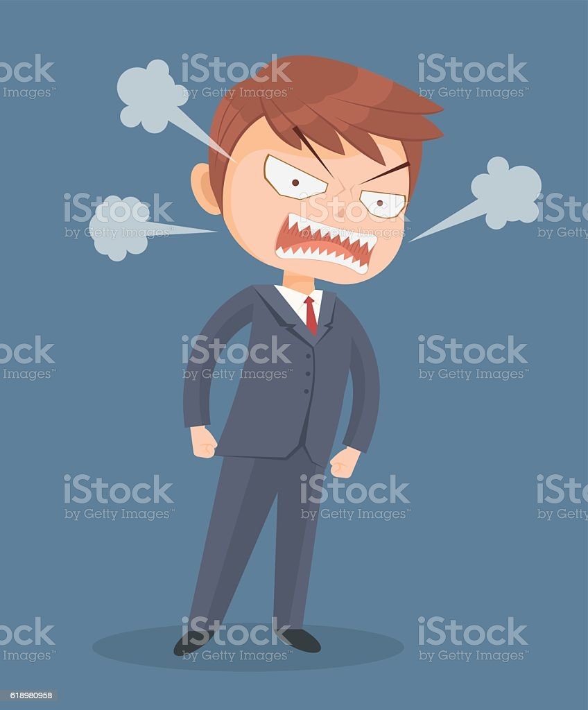 Angry screaming office worker man character vector art illustration