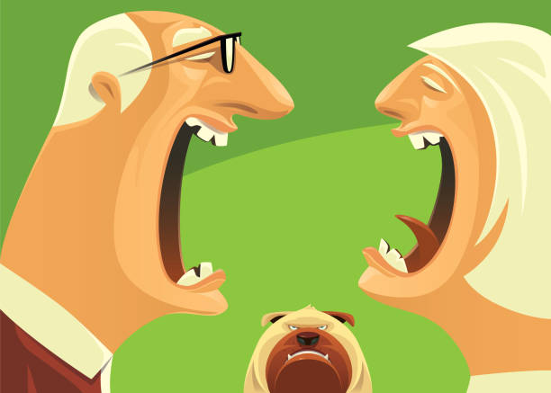 angry senior couple arguing - old man crying clip art stock illustrations, clip art, cartoons, & icons