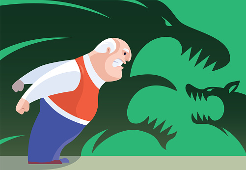 angry senior man with furious lion and wolf shadows