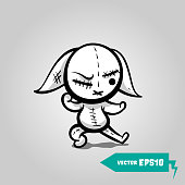 Cute evil rabbit halloween sticker. Angry sewn voodoo bunny. Comic book sketch vector. Stitched thread funny karate fight zombie monster.