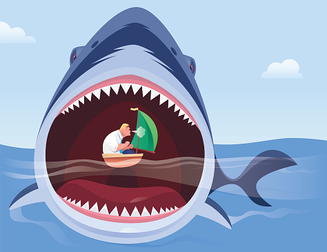 angry shark attacking businessman