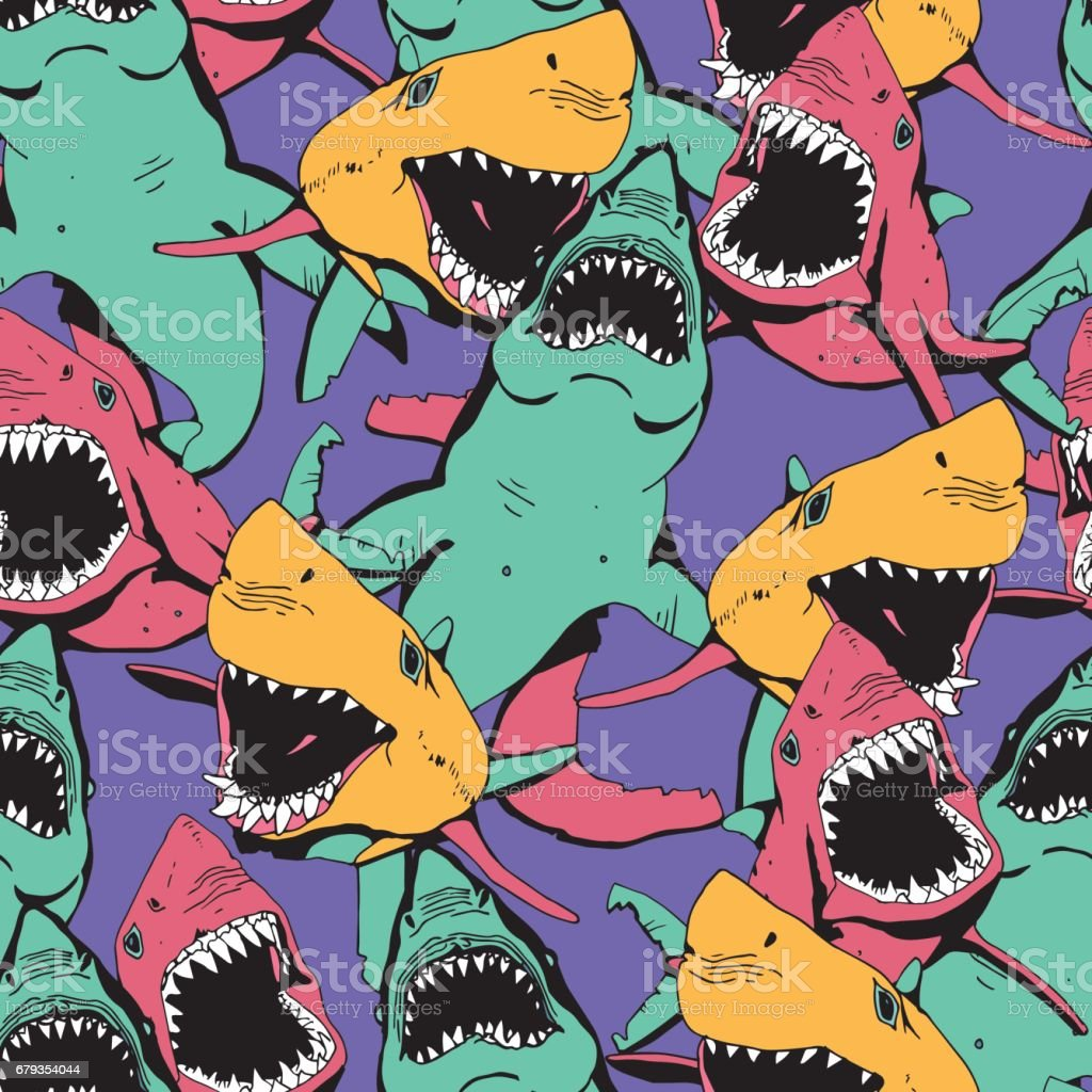 Angry Shark Collage. Hand Drawn Sea Life Pattern. Animal and Wildlife Illustration. vector art illustration
