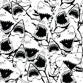 Angry Shark Collage. Hand Drawn Sea Life Pattern. Black and White Illustration.