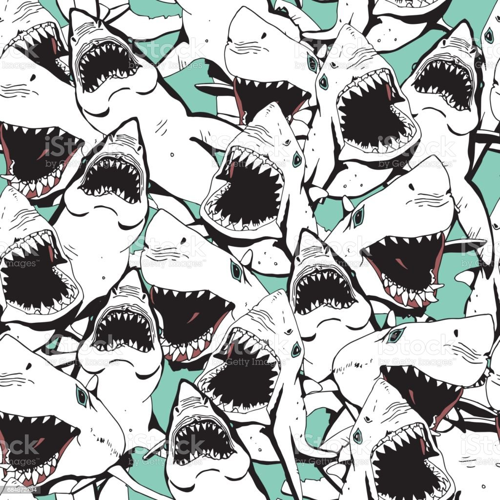 Angry Shark Collage. Hand Drawn Sea Life Pattern. Black and White Illustration. vector art illustration