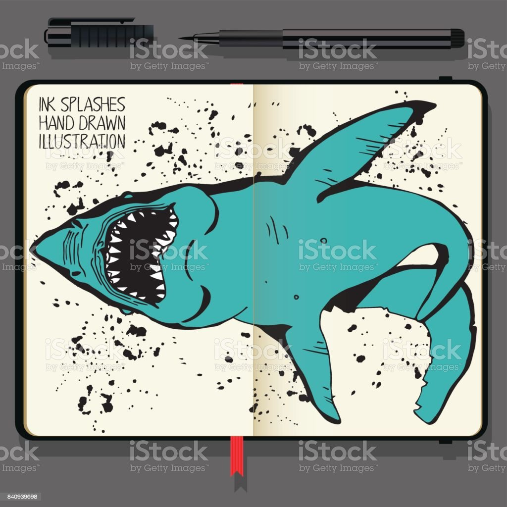 Angry Shark Collage in Circle. Sea Life illustration. Vector Notebooks with Fine Liner Pen and Hand Drawn Doodles. vector art illustration