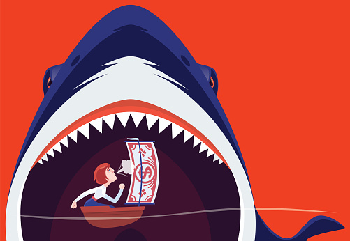 angry shark eating sailboat and businesswoman