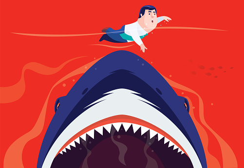 angry shark going to eat businessman