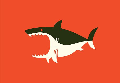 angry shark symbol