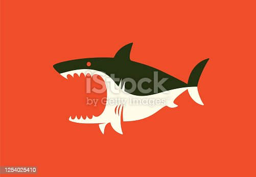 vector illustration of angry shark symbol