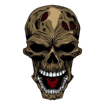 angry skull head