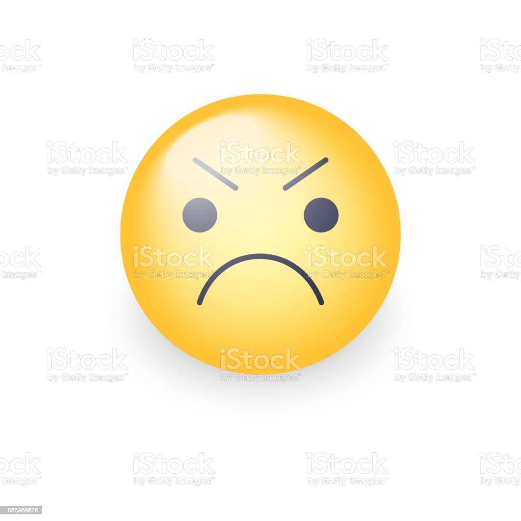 Visage de smiley en colère d'emoji. Emoticon de vecteur de dessin animé mignon agacé. - Illustration vectorielle