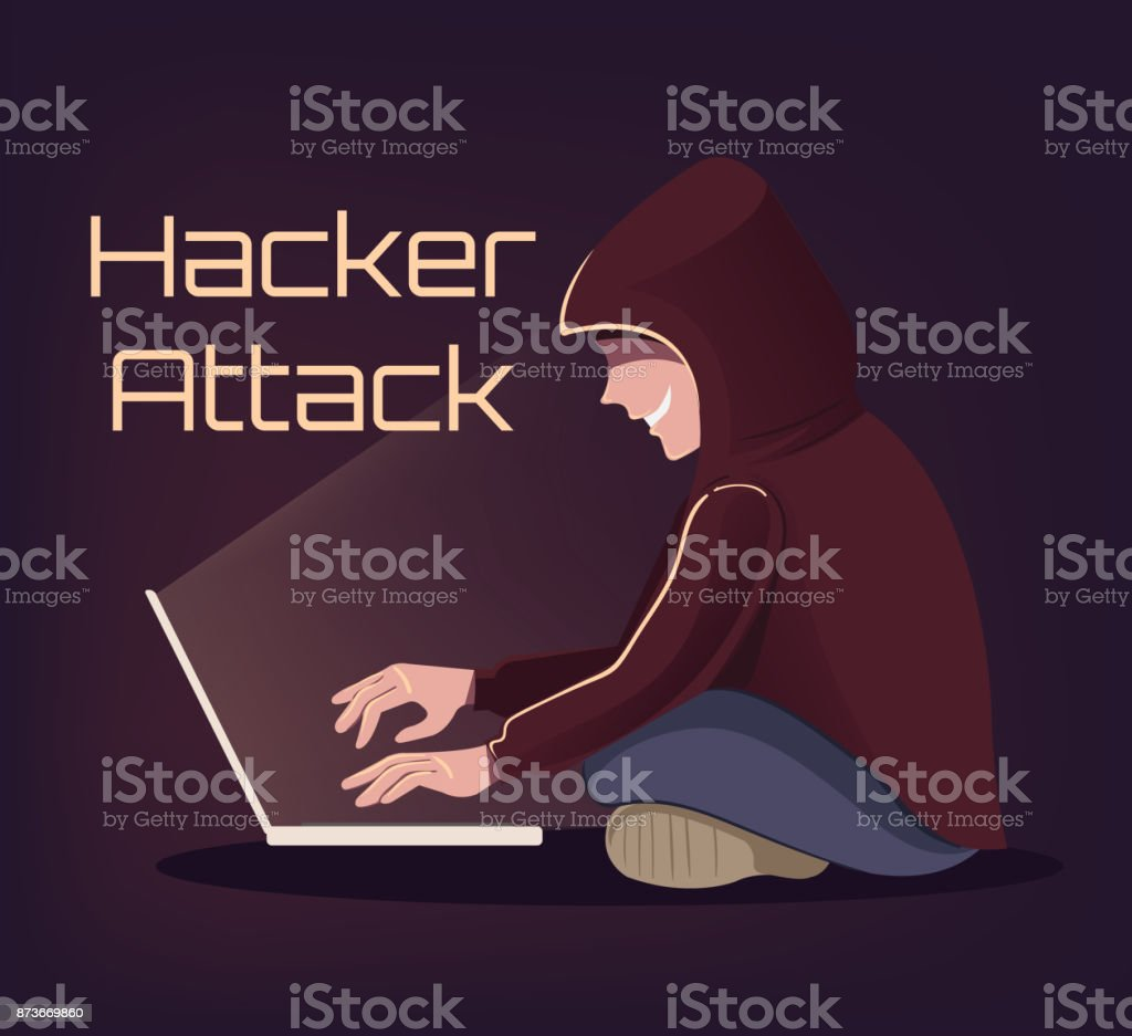 Angry Smiling Computer Hacker Man Character Trying Crack