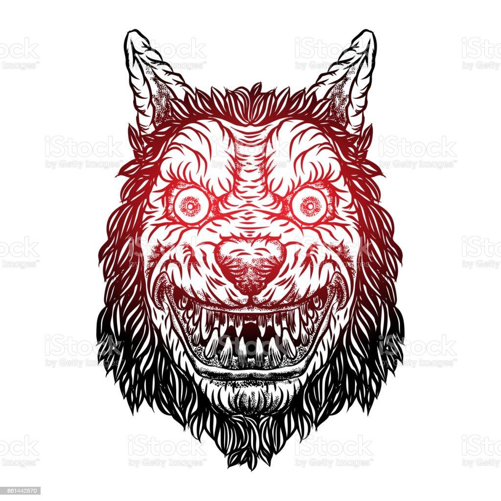 Ilustración De Sonriendo La Cabeza De La Mascota Lobo Astuto