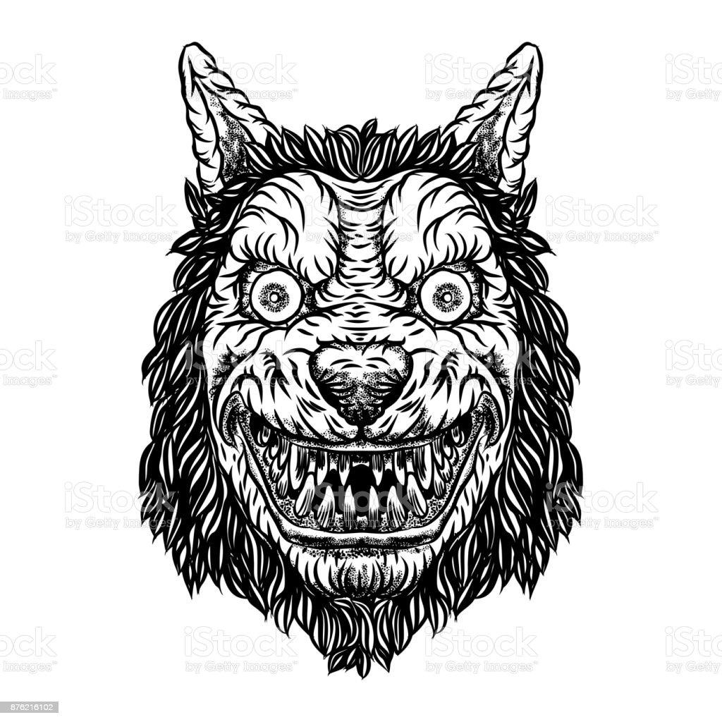 Wütend Lächelnd Schlauen Maskottchen Wolfskopf Werwolf Blackwork ...