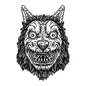 Angry smiling cunning wolf mascot head. Werewolf blackwork tattoo flash concept isolated on white. Detailed wolf face with scary eyes illustration. Vector.