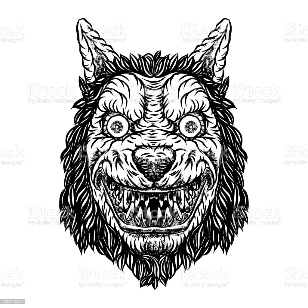 Angry smiling cunning wolf mascot head. Werewolf blackwork tattoo flash concept isolated on white. Detailed wolf face with scary eyes illustration. Vector. vector art illustration