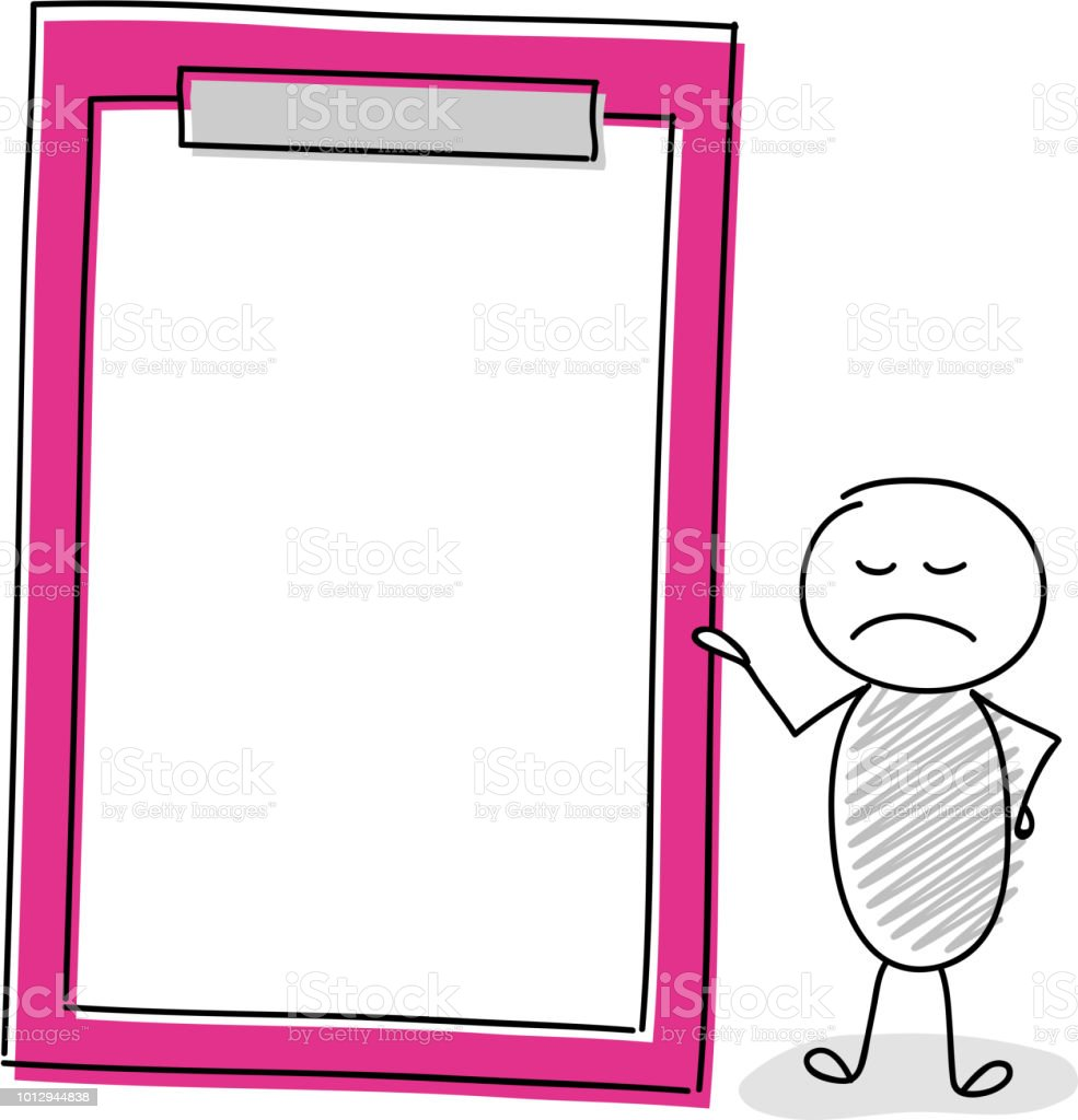 Angry stickman holding empty clipboard. Vector. vector art illustration