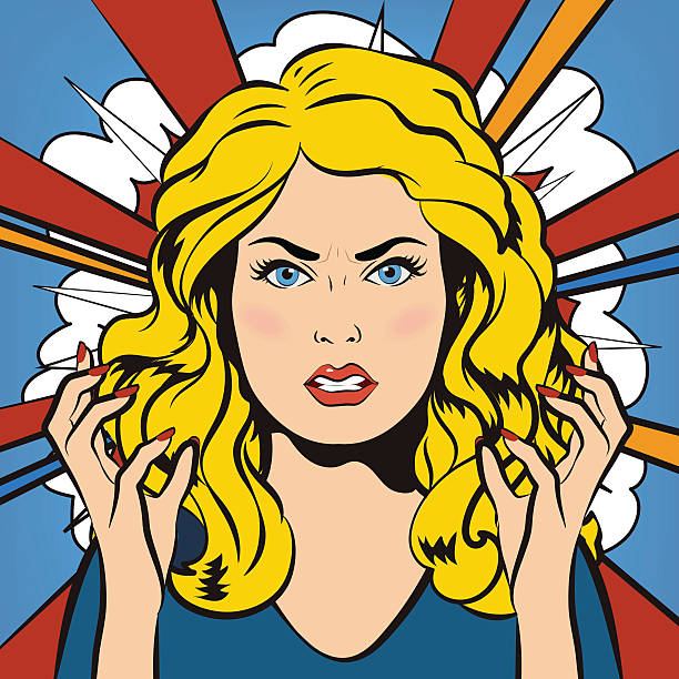 Angry stressful negative woman. Young furious girl. Vector illus vector art illustration