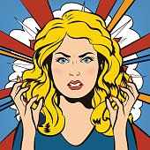 Angry stressful negative woman. Young furious girl. Vector illus