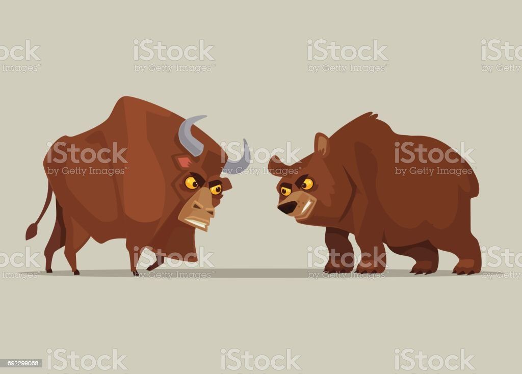 Angry Strong Bull And Bear Characters Symbol Of Stock Market Stock
