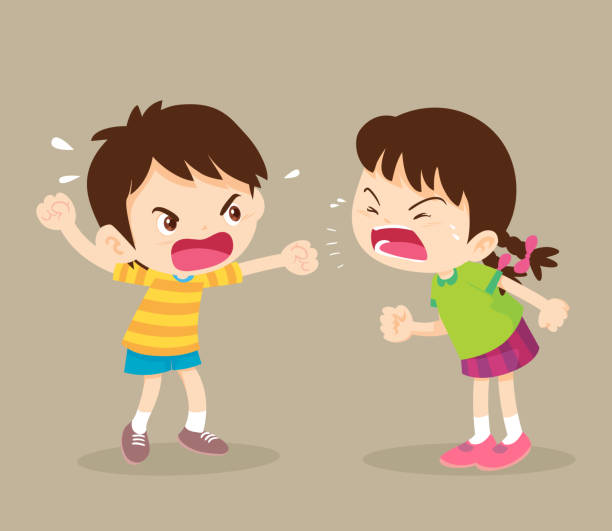 ilustraciones, imágenes clip art, dibujos animados e iconos de stock de niño enojado estudiante y niña están discutiendo - hermana