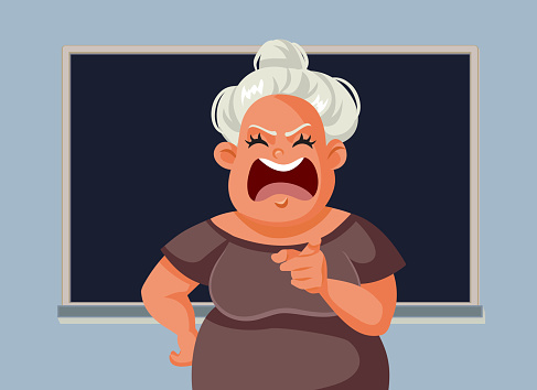Angry Teacher Screaming in Front of the Class