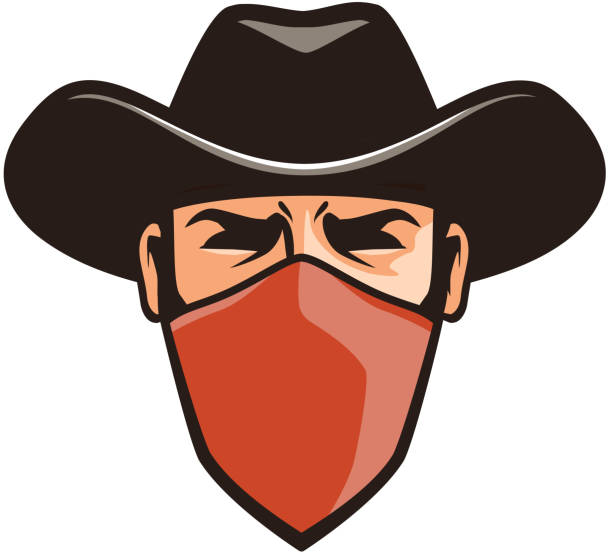 Angry thug in mask. Cowboy, robber, bandit in hat. Cartoon vector illustration Angry thug in mask. Cowboy, robber, bandit in hat. Cartoon vector illustration isolated on white background bandit stock illustrations