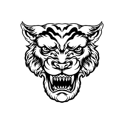 Angry Tiger head illustrations Silhouette for your work Logo, mascot merchandise t-shirt, stickers and Label designs, poster, greeting cards advertising business company or brands.
