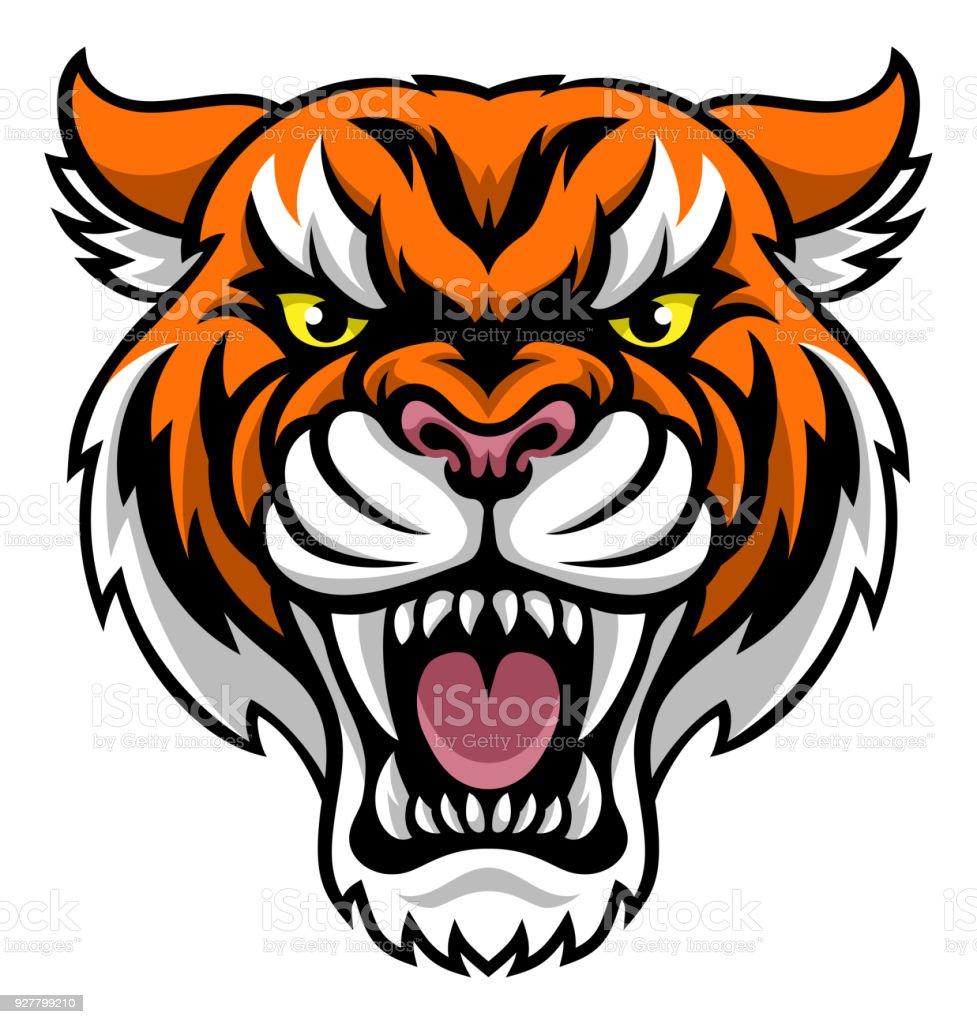 Angry Tiger Mascot vector art illustration